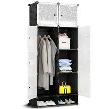 10 Cube Black DIY Storage Cabinet Wardrobe