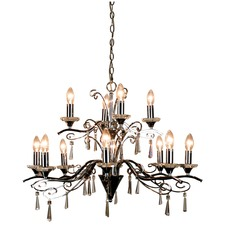 Diaz 12 Light Pendant in Chrome and Crystal