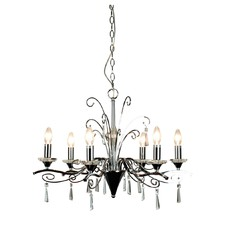 Diaz 6 Light Pendant in Chrome and Crystal