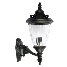 Newark One Light Outdoor Wall Light Up Facing in Black