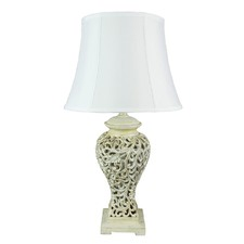 White Bergamo Filigree Table Lamp