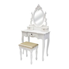 Large Dressing Table with Mirror and Stool in White