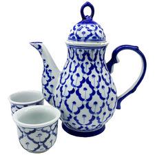 3 Piece Antique Blue & White Tea Set