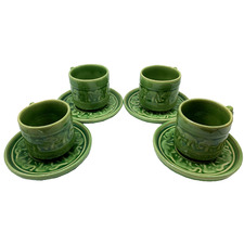 200ml Celadon Ceramic Coffee Cups & Saucers (Set of 4)