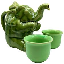 3 Piece Elephant Kayce Celadon Ceramic Tea Set