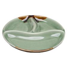 Parsa Green 3 Portion Round Ceramic Serving Plate
