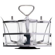 8 Piece Thorin Aluminium & Glass Condiment Set