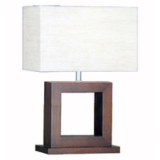 Table Lamp with Wood Dark Brown Base