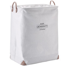 White Lubin Cotton Laundry Basket
