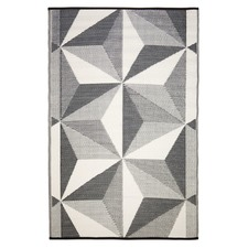 Grey Geo Star Glacier Outdoor Rug