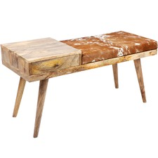 Aurora Wood & Leather Bench