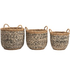 Ebony Seagrass & Jute Baskets (Set of 3)