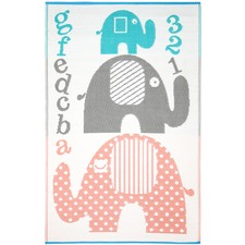 Pink & Grey Little Portico Elephant rug