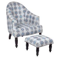 Blue Bianca Armchair & Foot Stool