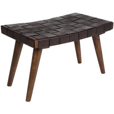 Atria Mango Wood & Faux Leather Stool