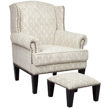 Kiana Upholstered Armchair with Foot Stool