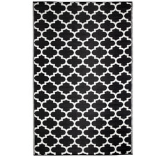 Black & White Tangier Trellis Outdoor Rug