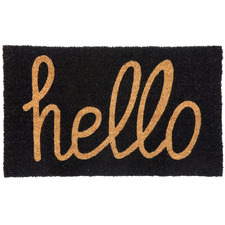 Black Hello Coir Doormat