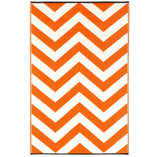 Orange & White Laguna Chevron Outdoor Floor Mat