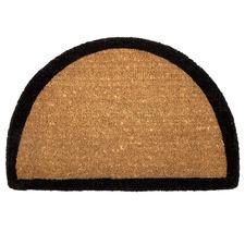 Black Border Curved Coir Doormat