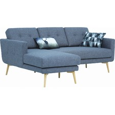 Seal Blue Stream Modern 3 Seater Sofa with Chaise