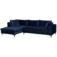 Navy Blue Velvet Brooke 3 Seater Sofa with Chaise