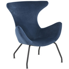 Blue Crombie Velvet Lounge Chair