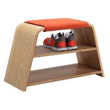 Leta Ash Wood Bench & Shoe Storage