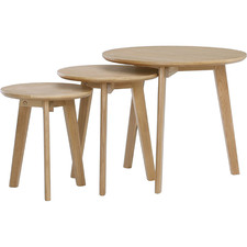 3 Piece Oriel Oak Wood Side Table Set