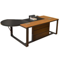 Jaxon Glass-Top Executive Desk with Left Return