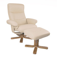 Cream Duncan Leather Adjustable Recliner with Footstool