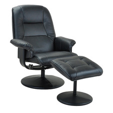 Black Lana Faux Leather Adjustable Recliner with Footstool