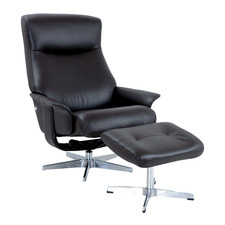 Black Margot Leather Adjustable Recliner with Footstool