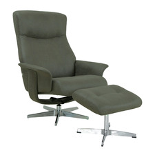 Green Margot Upholstered Adjustable Recliner with Footstool