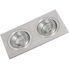 Two Tone Square Recessed 2 Downlight in Aluminium