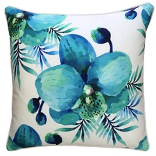 Blue Lagoon White Flower Outdoor Cushion