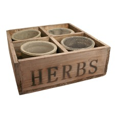 Wood Herb Tray with 4 Pots