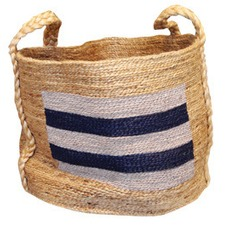 Jute Basket in Grey Stripe
