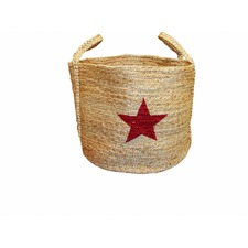 Jute Basket with Red Star