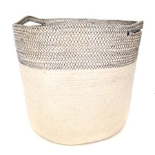 Jute Baskets in Bleach & Black Sitch (Set of 3)