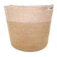 Set of 3 Jute Baskets in Natural & White Stitch (Set of 3)
