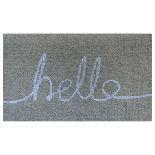 Pale Grey & White Hello Doormat