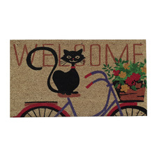 Cat On Bike Outdoor Doormat