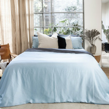 Straight Blue Bamboo Lyocell Quilt Cover