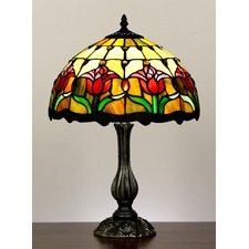 Tiffany Tulip Style Stained Glass Table Lamp