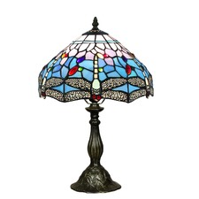 Tiffany Blue Dragonfly Table Lamp in Zinc Alloy