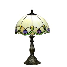 Tiffany Bell-Shaped Flower Style Stained Glass Table Lamp