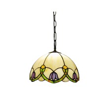 Simple Tulip Style Stained Glass 1 Light Ceiling Pendant