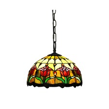Decorative Tulip Style Stained Glass 1 Light Ceiling Pendant