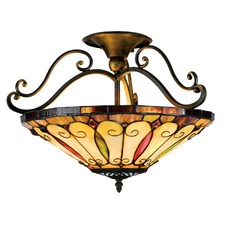 Tiffany Felice Style 2-light Imperial Bronze Semi-Flush Mount Ceiling Light